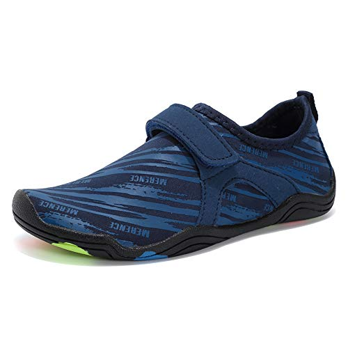 FANTURE Girls & Boys Water Shoes Lightweight Comfort Sole Easy Walking Athletic Slip on Aqua Sock(Toddler/Little Kid/Big Kid) U4JSX002-Z.Blue-37