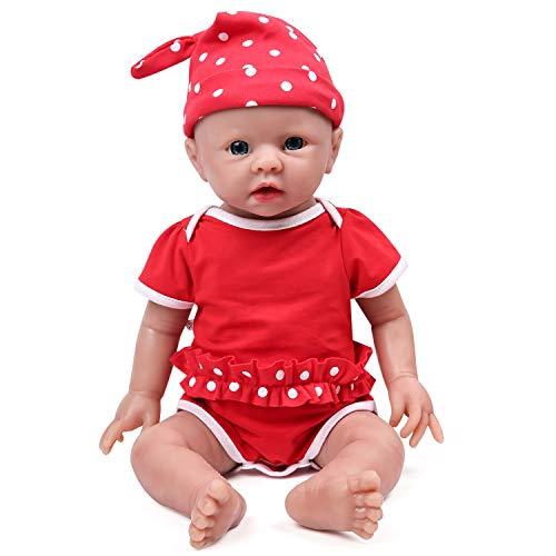 IVITA Pleine Corps Silicone Reborn Bébé Poupée Réaliste Bébé Nouveau-né Poupée Réelle Bébé Poupée à la Main Réaliste Yeux Bleus Doux Vif Bébé Poupée Fille(WG1519-48cm-3791g-Mädchen)