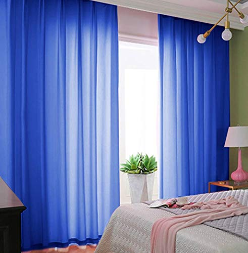 Chiffon-Backdrop-Curtain Royal Blue 2.4ft x 10ft Pack of 2 Voile Sheer Curtains 29