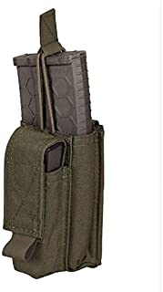 Chase Tactical Kangaroo 5.56 Pistol Mag Pouch – Holds 5.56mm x 45 mm M4 Metal, Polymer Mags – Bungee Retention, Velcro Lid – for Military, Law Enforcement, Medical, Combat Training – Unisex
