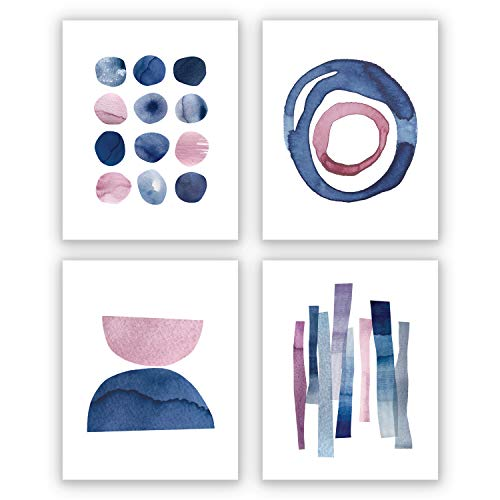 Wall Art Prints for Living Room Bedroom Kitchen | 8'X10' | UNFRAMED | Abstract Pink and Blue Watercolor Paintings | Digital Prints | Home Decor Accents | Home Decorations | Set of 4