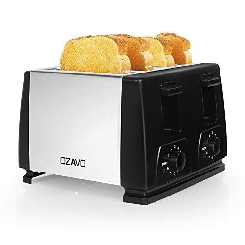 OZAVO Toaster 4er Edelstahl 4 Scheiben, 1300 Watt Brötchen Toaster mit Abnehmbarer Krümelschublade, 6 Bräunungsstufen, Silber