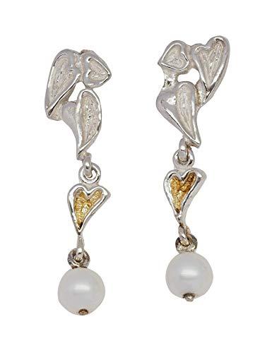 WormsRose im RosenGarten - Ohrringe Gartenelfe aus Herzen Zuchtperlen für Damen 925 Sterling-Silber