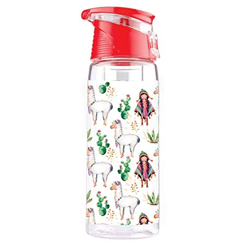 Wasserflasche mit Obstbehälter Sportflasche für Getränke mit Griff Trinkflasche mit Früchtebehälter mit einem starken Verschluss BPA-frei Lama [110]