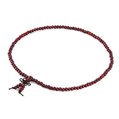 DDyna 4 Colores Unisex sándalo 6 mm * 108 Cuentas de oración Budista Mala Pulsera de Cuentas de Hilo de Madera Multicapa - Rojo - 6 mm * 108