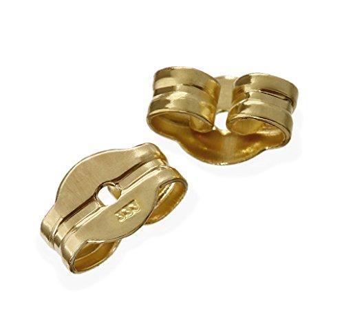 NKlaus 1 Paar 333 Gelbgold 8 Karat Gold 5,5mm Gegenstecker für Ohrstecker Ohrringe Ohrstopper Pousetten Ohrmutter Butterfly Schmetterling Verschluss Loch: 0,75mm 2000