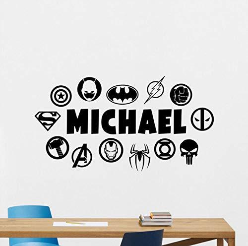es Calcomanía de pared Nombre personalizado DC Marvel Logo Comics Vinilo Adhesivo Decoración de pared Teen Boy Room Dormitorio Adhesivo de pared 60x32cm