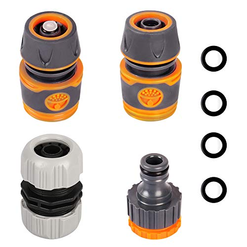 Onarway 4 Pack Plastic Garden Hose Fitting Set Pipe Tap Connector Kit, a...