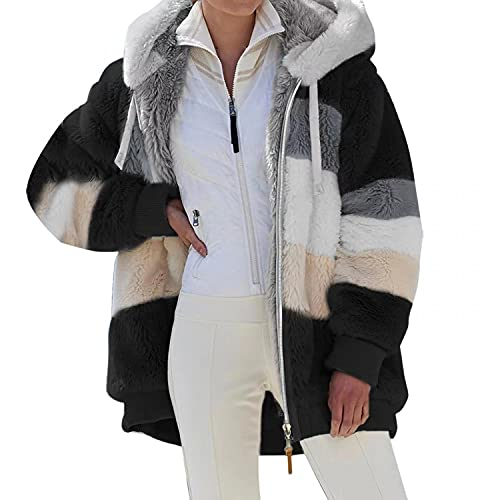 PAOLIAN Kapuzenjacke Fleecejacke Damen Kapuzenpullover Plüschjacke mit Kapuze Reißverschluss Leistentasche Outwear Coat Strickjacke