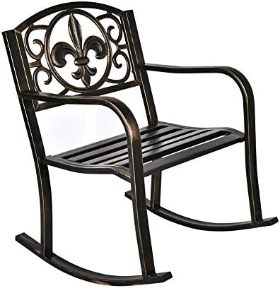 Best GIODIR Outdoor Patio Rocking Chair, Metal Rocking seat for for Deck, Backyard or Garden w/Scroll Des