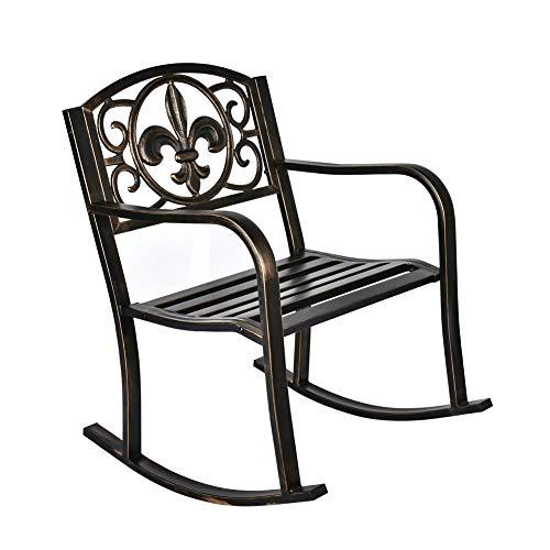 GIODIR Outdoor Patio Rocking Chair, Metal Rocking seat for for Deck, Backyard or Garden w/Scroll Design (Bronze)