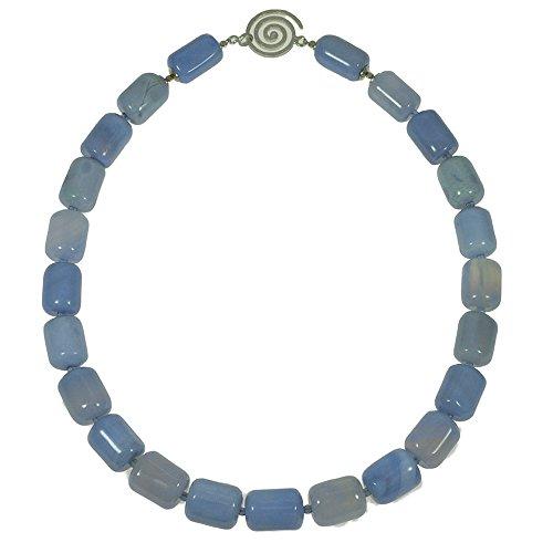 Edelstein Kette - blauer Achat Collier, 925oo Silber Spiralschloss, ca. 49 cm, ca. 700 Karat = ca. 140 Gramm.