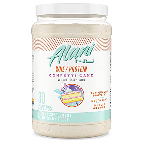 Alani Nu Whey Protein Powder, 23g of Ultra-Premium, Gluten-Free, Low Fat Blend of Fast-digesting Protein, Confetti Cake, 30 Servings