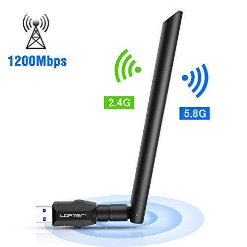 ZONAMA Antena WiFi USB 5ghz 1200Mbps Adaptador WiFi USB 3.0 WiFi Adapter 5dBi Receptor WiFi Dual Band (5.8G/867Mbps+2.4G/300Mbps) para PC e Laptop, Compatible con Windows XP/7/8/10/Vista, Linux, Mac