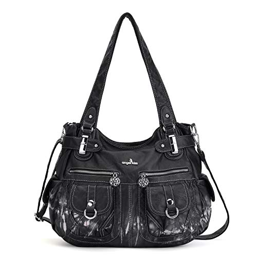 Angelkiss Women's Designer Handbag Large Double Zipper Multi Pocket Washed, Black-z