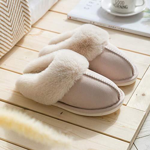 Sxuefang Zapatillas, Zapatillas de algodón de vellón Home otoño e Invierno Pareja cálida Gruesa Piel Zapatillas Hombres y Mujeres Zapatillas de algodón Antideslizante