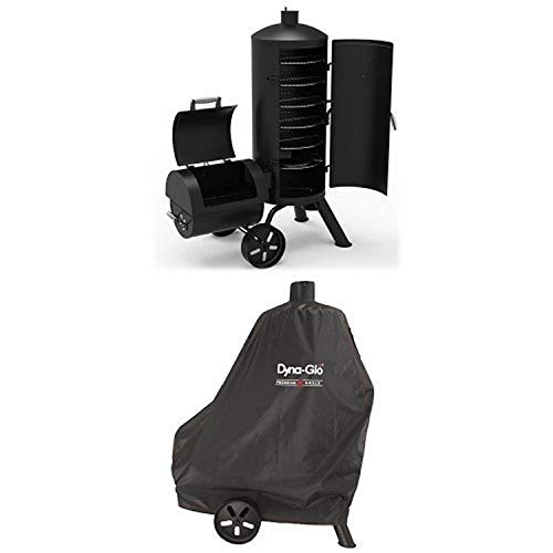 Dyna-Glo Signature Series DGSS1382VCS-D Heavy-Duty Vertical Offset Charcoal Smoker & Grill and premium smoker grill cover