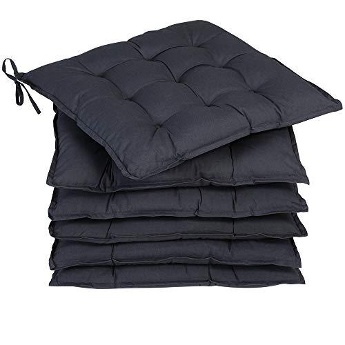 Deuba 6X cojínes Cozy Antracita para sillas almohadones Interior y Exterior Asiento con Cintas de sujetación 45x45cm