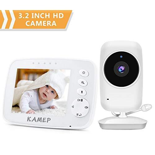 Video Baby Monitor con fotocamera Night Vision 3.2'LCD Digital Cam 2.4GHz Wireless Trasmissione Due Vie Audio Multi-Camera Sensore di Temperatura e Ninna Ninna Ninna Nanna 2019 Nuova Versione KAMEP