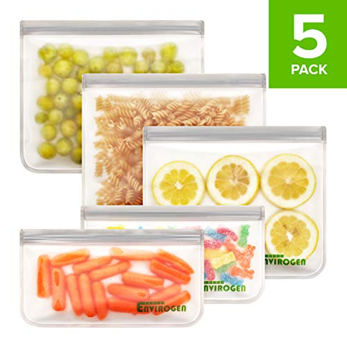 Envirogen 5 Pack Reusable Storage Bags (3 Reusable Sandwich Bags, 2 Reusable Snack Bags), Extra Thick, Leakproof, Freezer Safe Silicone and Plastic-Free Lunch Bags