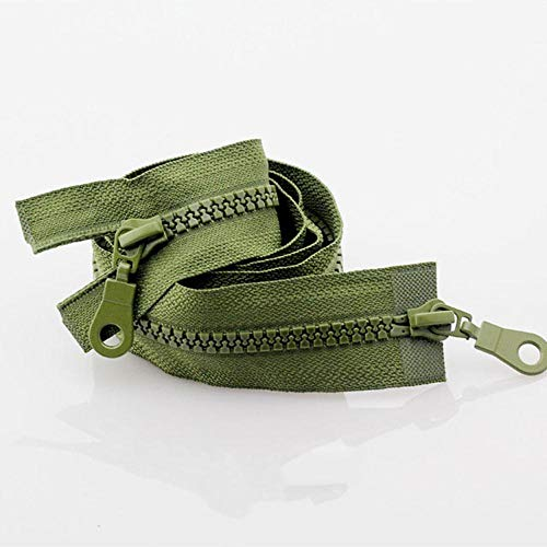 5# 70/80cm Plastic Resin Double Sliders ECO Colorful Zippers for Clothes Garment-Army Green,5#,80cm