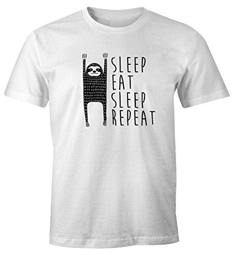 MoonWorks lustiges Herren T-Shirt Sleep Eat Sleep Repeat Faultier Fun-Shirt aus Reiner Baumwolle weiß L