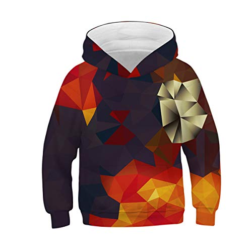 NEWCOSPLAY Unisex Kids Hooded Realistic 3D Diamond Digital Print Sweatshirt Baseball Jersey for Boys Girls (9-10 Years, 089)
