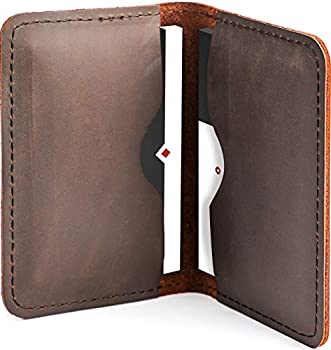 MaxGear Leather Business Cards Holder Professional Business Card Case Pocket Business Cards Wallet Slim Credit Card Carrier for Men and Women Crazy Horse Genuine Leather Dark Brown