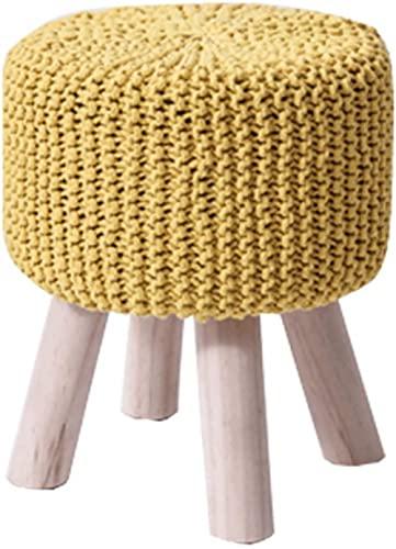 Poggiapiedi Target Camera da letto Comodino Pier Sgabello lavorato a maglia in lana fatto a mano Sgabelli alti-Yellow||32 * 40cm