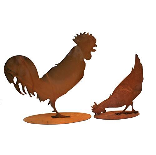 Rostikal   Edelrost Deko Huhn und Hahn im Set   Rost Tierfiguren für Haus und Garten   40 und 28 cm