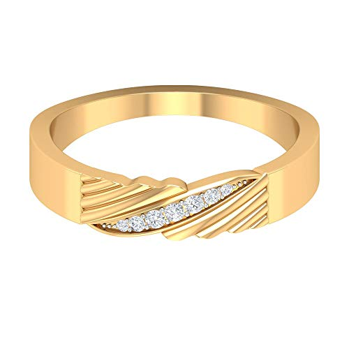 Rosec Jewels - Unique Wedding Band with HI-SI Diamond, Wide Band Ring, 14K Yellow Gold, Size:UK Q