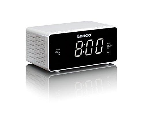 Lenco Radiowecker CR-530 Stereo Funk Uhrenradio mit 2 Weckzeiten, 1,2 Zoll LED Display, dimmbar, Sleep-Timer, Schlummerfunktion, Aux-Eingang, Weiß