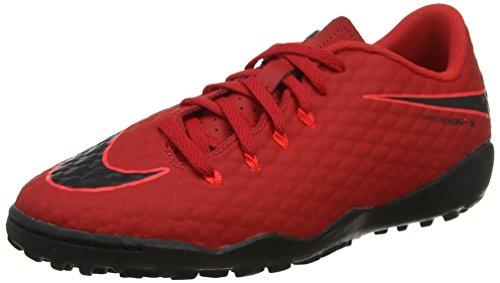 Nike Unisex-Kinder JR Hypervenomx Phelon III TF Fußballschuhe, Rot Universität Rot Schwarz Helles Karmesinrot 616, 37.5 EU