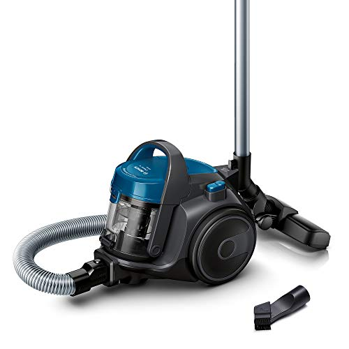 Bosch Staubsauger beutellos Clean´n Serie 2 BGC05A220A, Bodenstaubsauger, Bodendüse für Parkett, Teppich, Fliesen, Hygiene-Filter, langes Kabel, leise, leicht, 700 W, blau