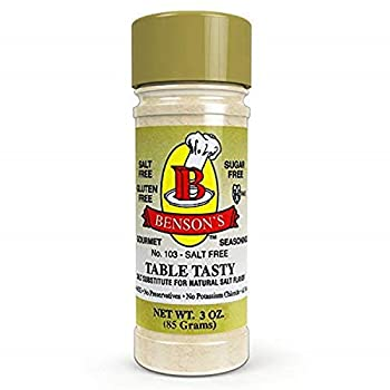 Benson s - Table Tasty Salt Substitute - No Potassium Chloride Salt Substitute - No Bitter After Taste - Good Flavor - No Sodium Salt Alternative - New Size 3 oz Bottle With Shaker Top