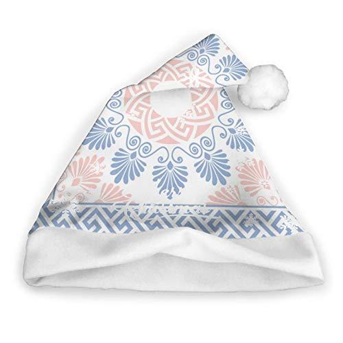 Rosa, blanco y azul, flor redonda, traste de Grecia, antigua Grecia, gorro navideo, gorro de Pap Noel, gorro navideo para adultos, gorros unisex cmodos navideos para Navidad, ao nuevo, fiesta na
