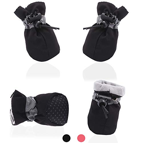 AblePet Dog Cat Boots Soft Shoes Anti-Slip Booties, with Adjustable Strap and Reflective Strip, Premium Paw Protector Only Fit for Small Dog (4Pcs)(Black, 2)