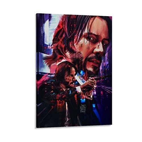 Ghychk John Wick Art Poster Hot Movie Leinwand Gemälde 3D gemalt auf Leinwand für Wohnzimmer Kunstwerk, fertig zum Aufhängen, 50 x 75 cm