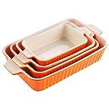 MALACASA Serie Bake.Bake, Set de 4 Fuentes para Horno, Molde de Horno para Platos Ideales para Lasañas, Pasteles, Tapas, Porcelana, Naranja