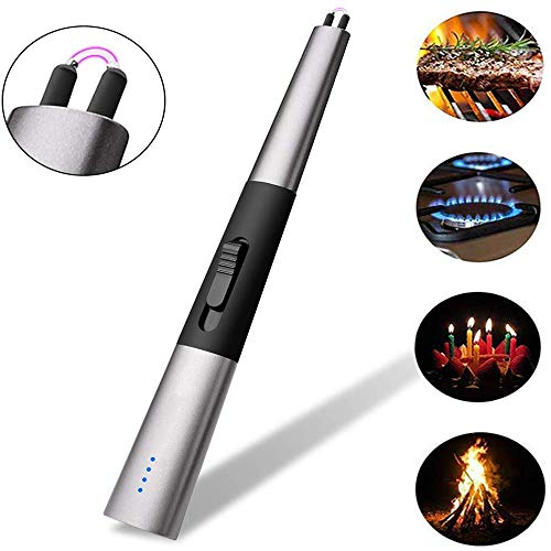 YWLGRX Kaars Aansteker Vlamloze USB Oplaadbare Anti Wind Gas Aansteker Perfect voor Keuken Barbecue Gas Fornuis Open Haard Vuurwerk Geen Spark
