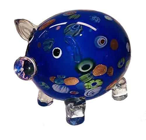 Cerdo de cristal XXXL de la suerte – Tamaño: 20 cm x 15 cm – Peso: 2 kg – Amuleto de la suerte para Nochevieja cumpleaños boda – WWW.VIENNAFASHION.at – de Viena – Vienna (648 azul)