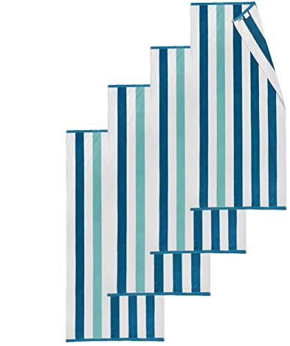 Kaufman – Oversized Plush Premium Velour Texture Cabana Stripe Beach Towel 4-Pack, 32in x 62in, 100% USA Cotton.