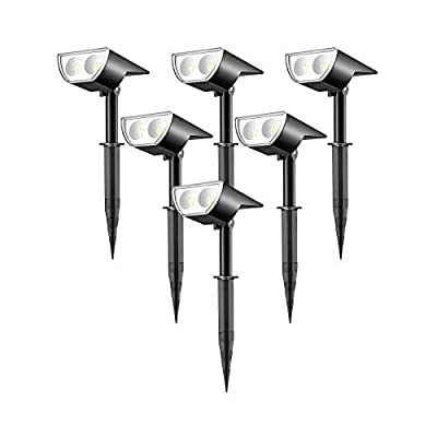 Linkind 12 LEDs Landscape Solar Spotlights, 350LM, 6500K Daylight White, 2-in-1 Outdoor Solar Powered Garden Lights, Dusk-to-Dawn IP67 Waterproof for Garden Yard Patio Driveway Porch, 6-Pack