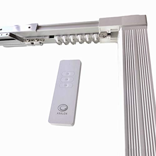 ABALON Vorhangschiene, Motorisiert, 1 bis 5 m, WiFi-Motor, kompatibel mit Alexa Google Home und App, Smart Home, mit Fernbedienung, Aluminium, elektrische Schiene