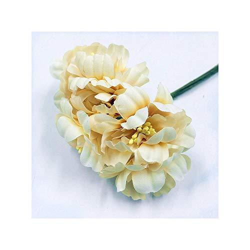 KenFandy Sale 6Pieces 5Cm Artificial Flowers Silk Plum Highland Flower For DIY Scrapbooking Wreath Wedding Decoration Fake Flowers,Champagne