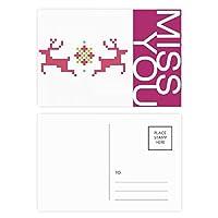 雪のクリスマス鹿画素 ポストカードセットサンクスカード郵送側20個ミス