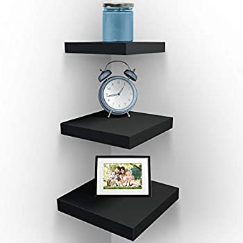 Sorbus Wall Mount Corner Shelves Square Hanging Wall Shelves Decoration Perfect Trophy Display Photo Frames Home Décor Set of 3 Black