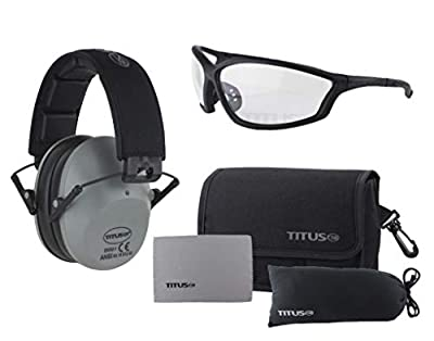 Titus 2 Series - 34 NRR Slim-Line Hearing Protection & G26 Competition Z87.1 Safety Glasses Combos (Black, Clear)