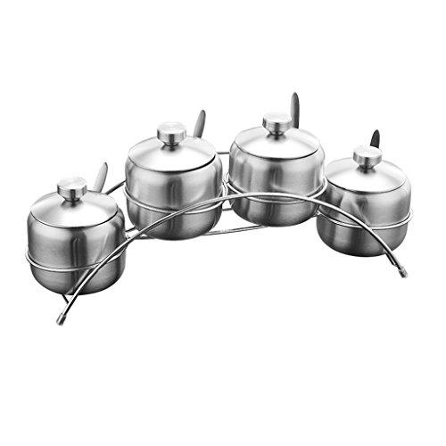 Huishoudelijke Spice Jar Set Keuken Met Deksel Dressing Box 304 RVS Ronde Zout Jar Miso Tank kruiden Fles 400ML