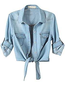Omoone Women s 3/4 Sleeve Denim Crop Top Tie Knot Shirt Cardigan  Light Blue XXL